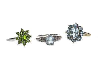 Lot 1323-A BLUE GEM SET AND DIAMOND RING AND TWO OTHER RINGS