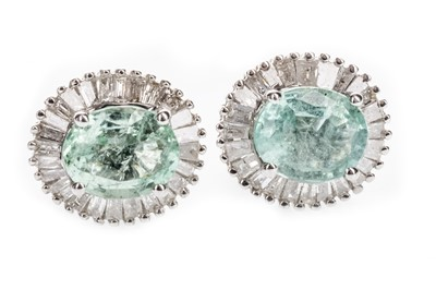 Lot 1325-A PAIR OF GREEN GEM SET AND DIAMOND EARRINGS