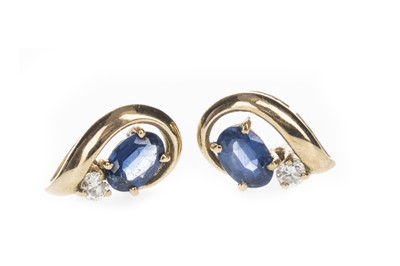 Lot 1334-A PAIR OF BLUE GEM SET AND DIAMOND EARRINGS