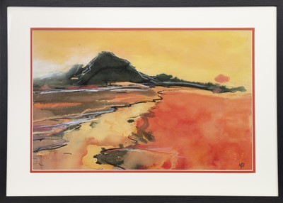 Lot 645 - BUACHAILLE ETIVE MHOR, GLENCOE, AN INK AND PASTEL BY MAY BYRNE