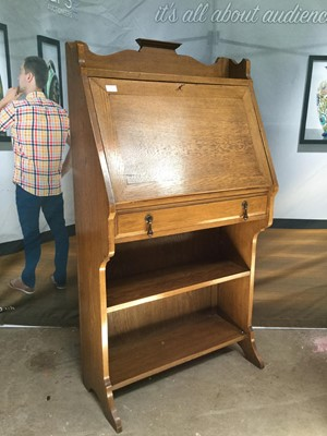 Lot 1664-AN EDWARDIAN OAK ESCRETOIRE