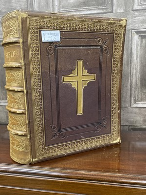 Lot 23-A 19TH CENTURY LEATHER BOUND FAMILY BIBLE, AN ICON AND A PRINT