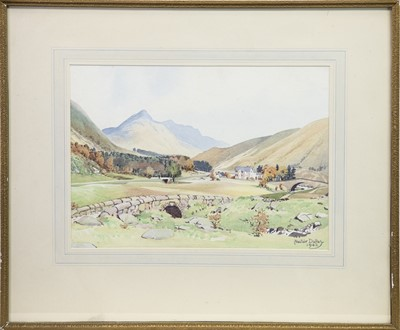 Lot 19-BRIDGE OF ORCHY, GLENCOE, A WATERCOLOUR BY ALASTAIR A K DALLAS