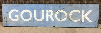 Lot 1681-A SCOTTISH RAILWAYS LARGE RUNNING IN ENAMEL SIGN - GOUROCK