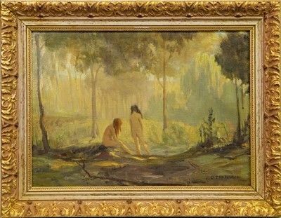 Lot 12 - IN THE PARADISE GROVE, AN OIL BY G.T.M ROACH
