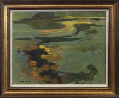 Lot 616-GREEN REFLECTIONS, AN OIL BY JEAN GARDNER