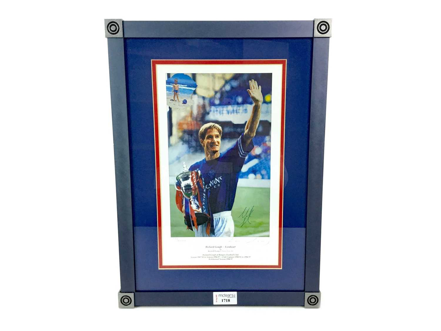Lot 1718 - A FRAMED PRINT OF RICHARD GOUGH BY KEVIN LEARY, SIGNED BY THE PLAYER
