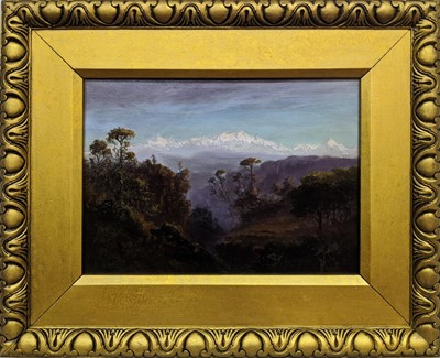 Lot 49-WOODED VALLEY, WITH PIC DU MIDI DE BIGORRE IN BACKGROUND, AN OIL BY ALFRED EMILE LEOPOLD STEVENS
