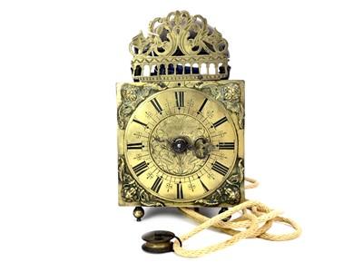 Lot 1152 - A VICTORIAN BRASS LANTERN CLOCK OF 17TH CENTURY DESIGN