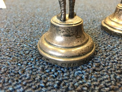 Lot 401 - A PAIR OF SILVER FIGURES OF BAGPIPERS