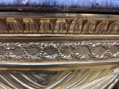 Lot 1203 - A LATE 19TH CENTURY GILTWOOD DEMI LUNE CONSOLE TABLE OF LOUIS XVI DESIGN