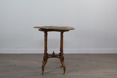 Lot 1208 - A VICTORIAN WALNUT CIRCULAR OCCASIONAL TABLE