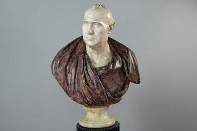Lot 1231 - A PAINTED METAL AND FAUX MARBLE BUST OF JAMES GREGORY BY SAMUEL JOSEPH
