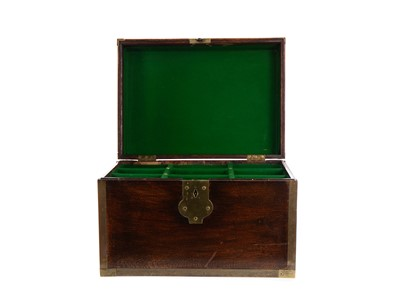 Lot 1235 - A 19TH CENTURY STAINED OAK AND BRASS BOUND DECANTER BOX
