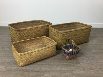 Lot 1239 - A COLLECTION OF FOUR WICKER BASKETS