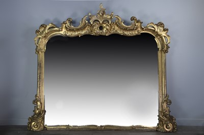 Lot 1242 - A GILTWOOD OVERMANTEL MIRROR