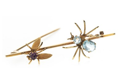 Lot 329 - A GEM SET SPIDER AND FLY BROOCH