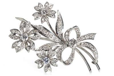 Lot 338 - A DIAMOND FLORAL SPRAY BROOCH