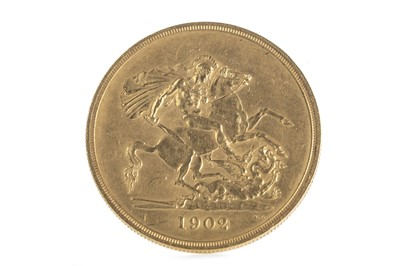 Lot 1-A GOLD FIVE POUND COIN DATED 1902