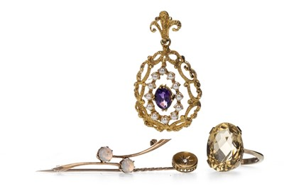 Lot 355 - AN OPAL BROOCH, GEM SET PENDANT, RING AND STICK PIN