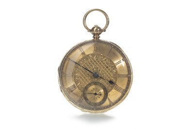 Lot 710 - AN EIGHTEEN CARAT GOLD OPEN FACE POCKET WATCH