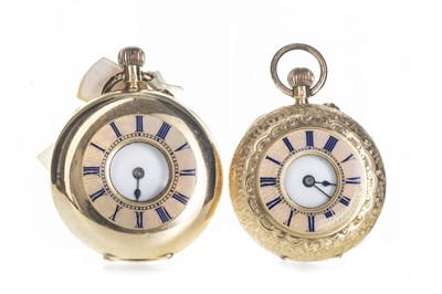 Lot 711-TWO GOLD HALF HUNTER FOB WATCHES