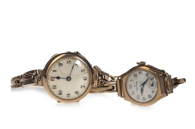 Lot 713-TWO LADY'S GOLD CASED MANUAL WIND WRIST WATCHES