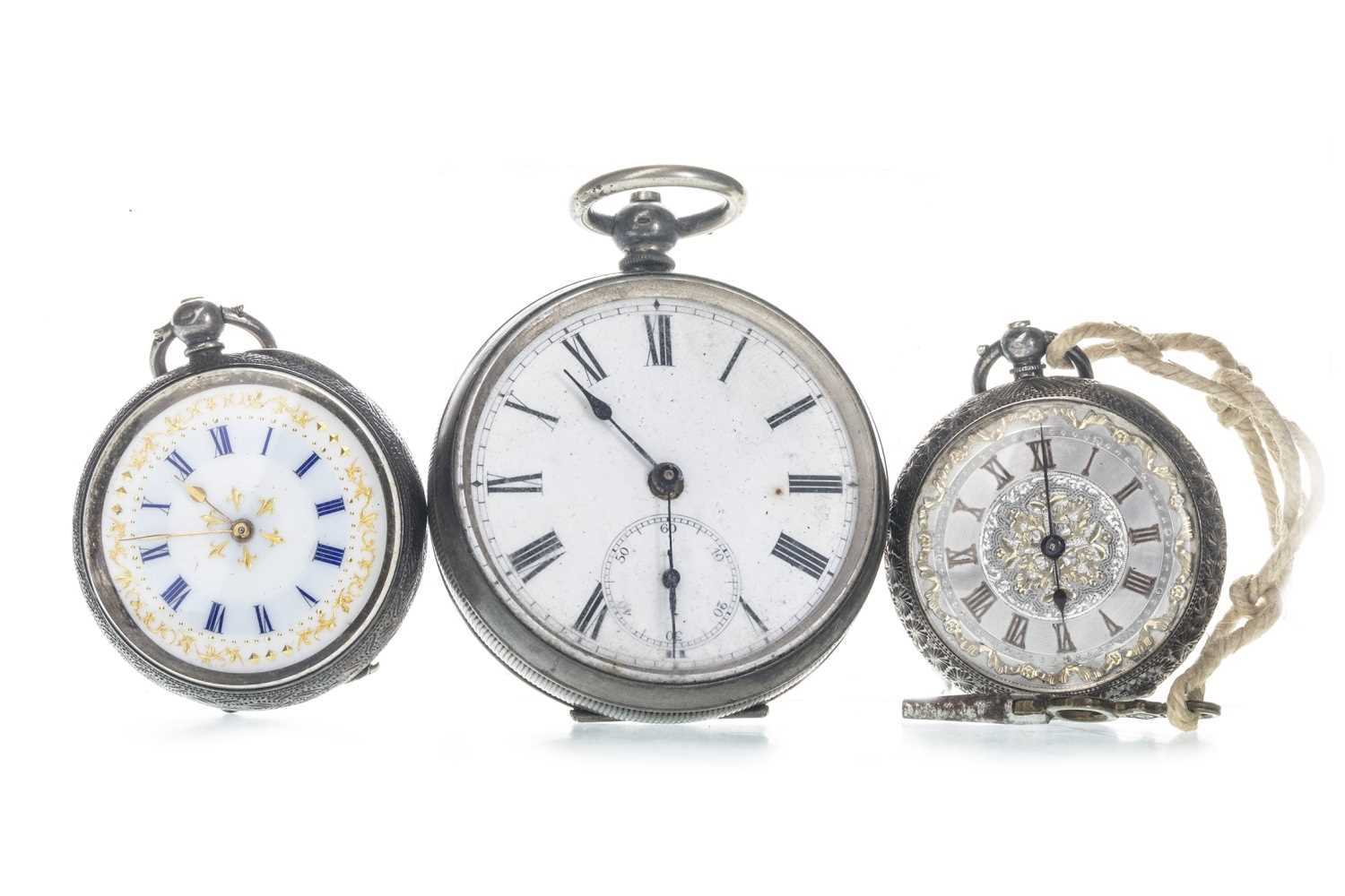 Lot 716-A CONTINENTAL SILVER OPEN FACE POCKET WATCH AND TWO FOB WATCHES