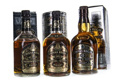 Lot 409-THREE BOTTLES OF CHIVAS REGAL 12 YEARS OLD