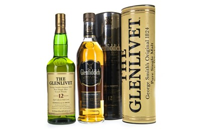 Lot 307-GLENFIDDICH CAORAN RESERVE AGED 12 YEARS AND GLENLIVET AGED 12 YEARS