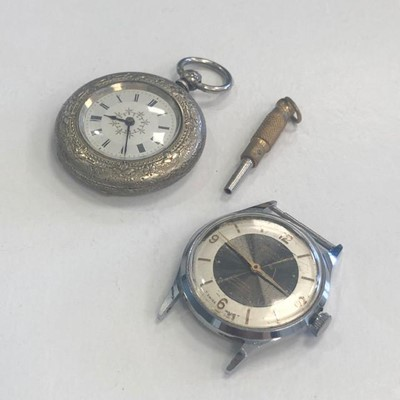 Lot 10-AN ART DECO SILVER AND ENAMEL COMPACT AND TWO WATCHES