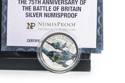 Lot 12-THE 75TH ANNIVERSARY OF THE BATTLE OF BRITAIN SILVER NUMISPROOF COIN