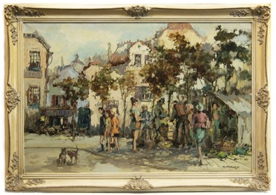 Lot 401-BUSY STREET SCENE, AN OIL BY THEODORUS VAN OORSHOT