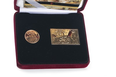 Lot 58 - 2001 GOLD PROOF ST GEORGE SOVEREIGN AND INGOT SET