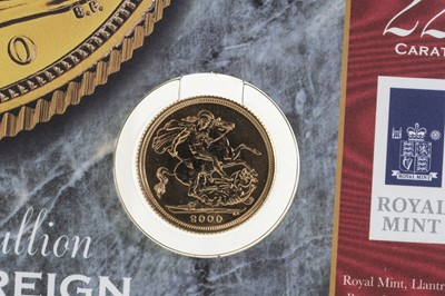 Lot 60 - 2000 GOLD BULLION ST GEORGE & THE DRAGON SOVEREIGN