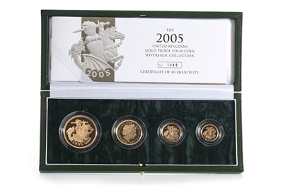 Lot 34 - 2005 GOLD PROOF UK SOVEREIGN COLLECTION FOUR COIN SET