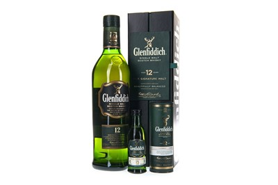 Lot 320-ONE BOTTLE OF GLENFIDDICH 12 YEARS OLD AND MINIATURE