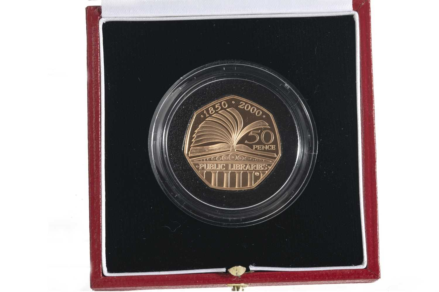 Lot 26-2000 GOLD PROOF PUBLIC LIBRARIES 50P COIN