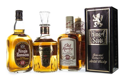 Lot 416-KING'S RANSOM AGED 12 YEARS, OLD RARITY 12 YEARS, AND KING OF SCOTS RARE EXTRA OLD