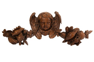 Lot 1282 - A 19TH CENTURY CARVED WOOD WALL PANEL