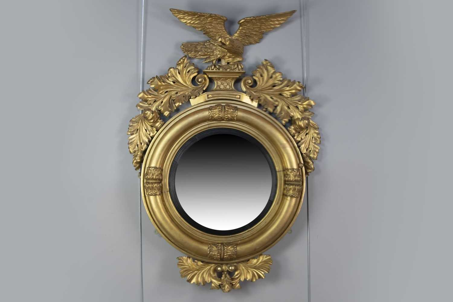 Lot 1272 - A 19TH CENTURY GILT GESSO WALL MIRROR OF LARGE PROPORTIONS