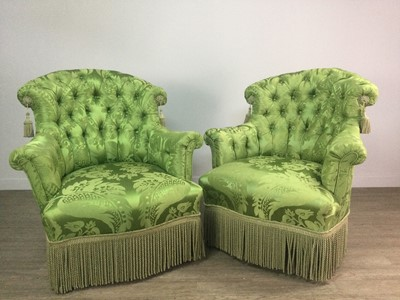 Lot 1257 - AN ATTRACTIVE PAIR OF VICTORIAN ARM CHAIRS
