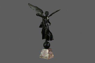 Lot 1306 - A 19TH CENTURY BRONZED METAL FIGURE OF NIKE