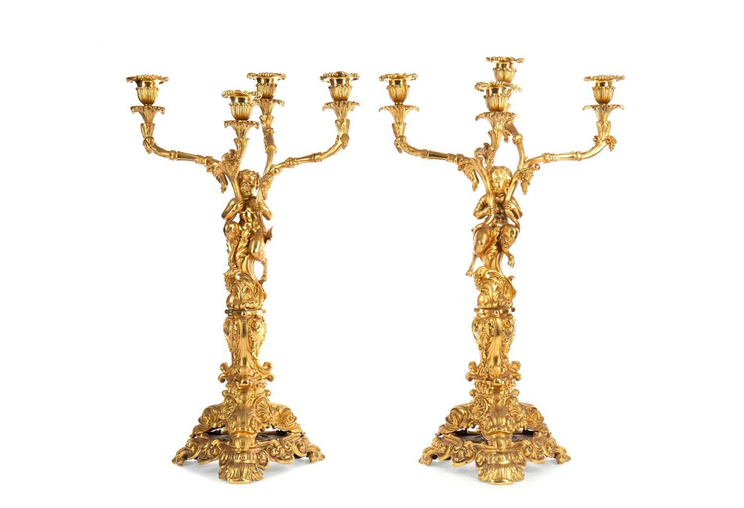 Lot 1348 - A HANDSOME PAIR OF LATE 19TH CENTURY ORMOLU CANDELABRA