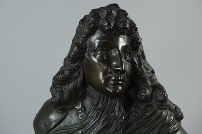Lot 1344 - A 19TH CENTURY BRONZE BUST OF  LOUIS XIV