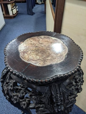 Lot 1337 - A 19TH CENTURY CHINESE PADOUKWOOD CIRCULAR SHAPED PLANT STAND