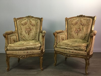 Lot 1332 - A 19TH CENTURY FRENCH GILTWOOD FIVE PIECE SALON SUITE