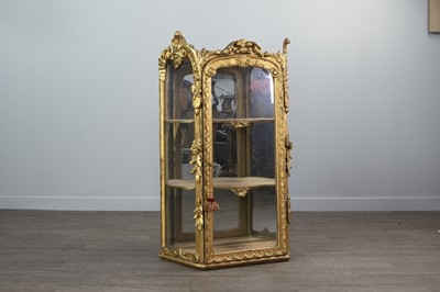 Lot 1330 - AN ATTRACTIVE 19TH CENTURY FRENCH GILTWOOD DISPLAY CABINET