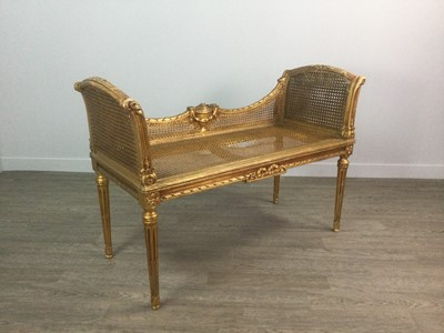 Lot 1319 - A FRENCH GILTWOOD BERGERE WINDOW SEAT