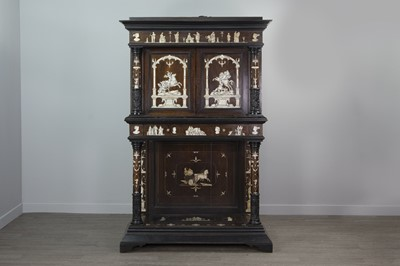 Lot 1317 - AN IMPRESSIVE 19TH CENTURY NORTH ITALIAN ROSEWOOD AND BONE INLAID SIDE CABINET